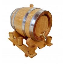 Oak Barrel with Wooden Glasses - 3 L