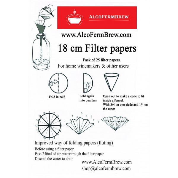 filter papers 18cm pack of 25
