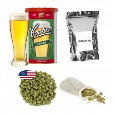 Brew Kit – Coopers Lager + Dextrose + Hop pellets + Muslin Bag