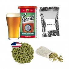 Brew Kit – Coopers APA + Dextrose + Hop pellets + Muslin Bag